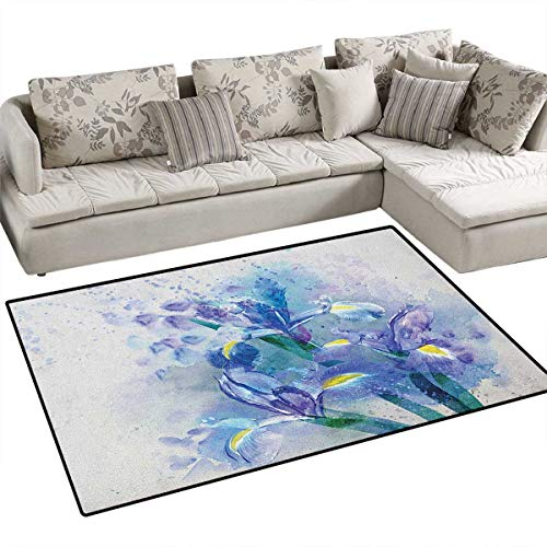 Watercolor Flower,Carpet,Floral Background Pretty Irises in Fresh Colors Nature Earth Spirit,Rug Kid Carpet,Lilac Teal Ecru Size:48