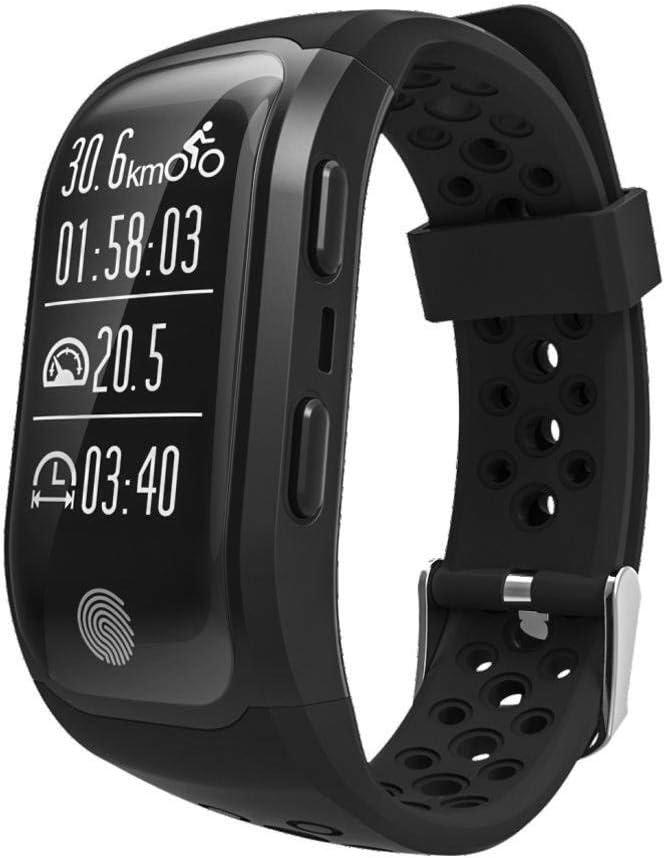 Ffshop Multifunción GPS Running Ciclismo Inteligente Especial del Reloj Atletismo al Aire Libre Contando Pulsera (Color : A)