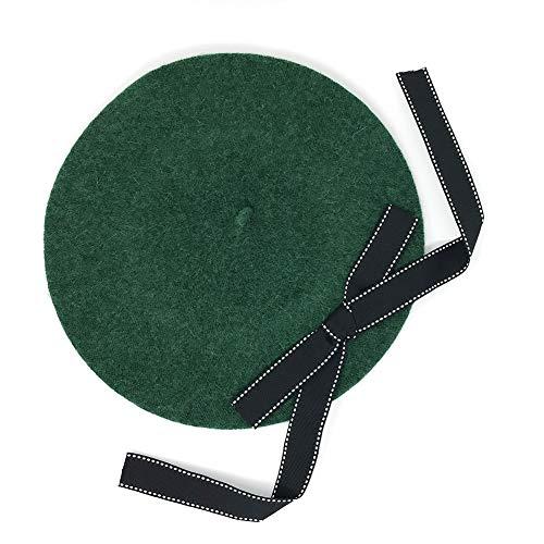Magik Wool Blend Bow Long Tie Artist Warm French Vintage Beanie Beret Hat Cap (Green)