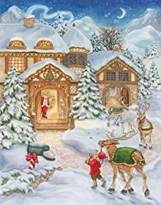 Santa & Reindeer Christmas Card Advent Calendar