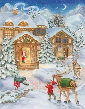 Santa & Reindeer Christmas Card Advent Calendar