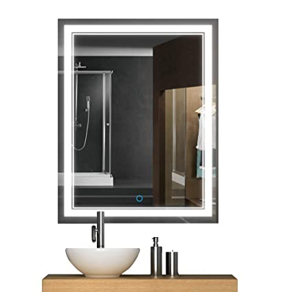 Keonjinn 30 X 18 Inch Anti Fog Horizontal/Vertiacl Dimmable LED Bathroom  Vanity Mirror