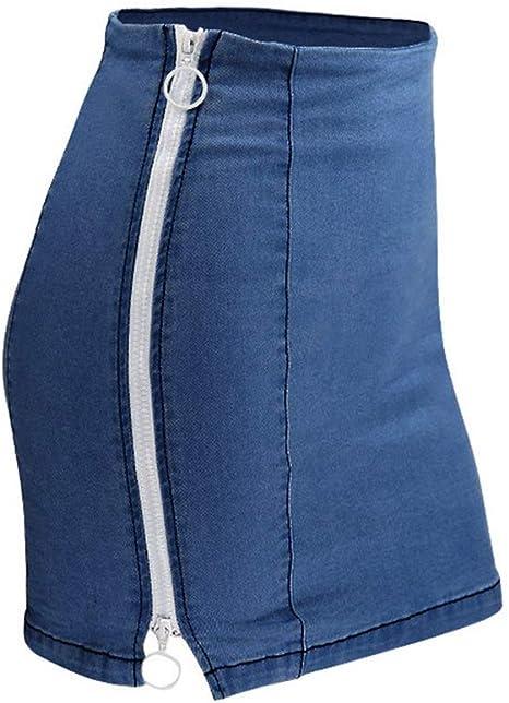 HEHEAB Falda,Verano Azul Oscuro Faldas Plus Size Denim Mujer Falda ...