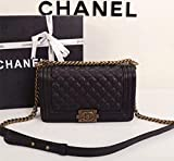 Simple-Chanel Women's Rhombus Chain Inclined Shoulder Bag (Golden)