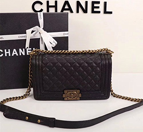Simple-Chanel Women's Rhombus Chain Inclined Shoulder Bag (Golden) - Chanel Real Leather