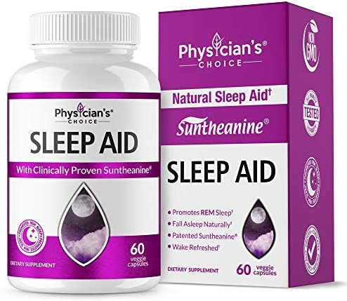 Sleep Aid with Valerian Root, Patented Clinically Proven Suntheanine, 100 Natural, Insomnia Relief, Chamomile, Suntheanine P5P Wake Up Feeling Rested, Sleeping Pills for Adults Extra Strength