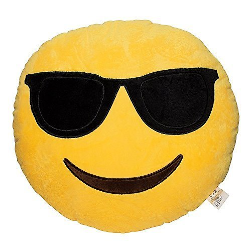 LI&HI Emoji Lachen Emoticon Kissen Polster Dekokissen Stuhlkissen Sitzkissen Rund(Cool)