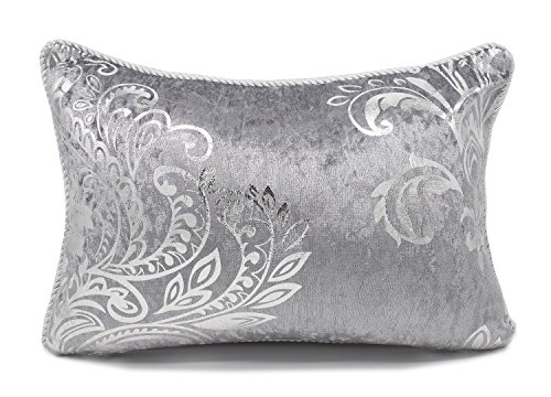 Fennco Styles Stunning Silk Velvet Foil Floral Decorative Throw Pillow (Grey+Silver, 12