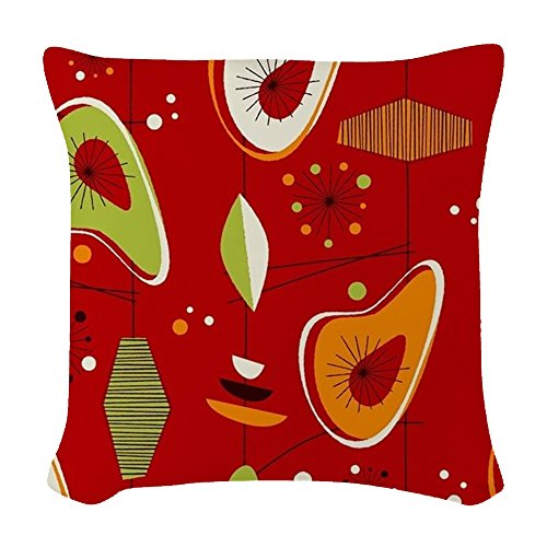 CafePress – Mid Century Modern Red Print – Woven Throw Pillow, Decorative Accent Pillow 51 2BBQmWOIQL