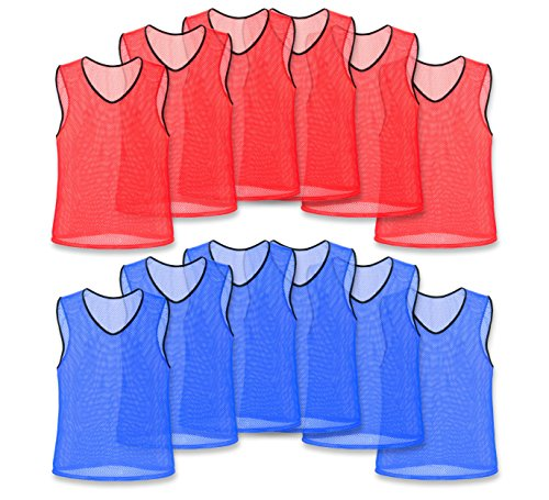 Unlimited Potential Nylon Mesh Scrimmage Team Practice Vests Pinnies Jerseys for Children Youth Sports Basketball, Soccer, Football, Volleyball (6 Red / 6 Blue, ()