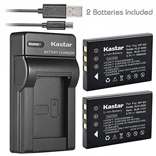 Kastar Battery (X2) & Slim USB Charger for Kodak KLIC-5000 K5000 & Kodak EasyShare DX6490 P850 P880 DX6490 EasyShare DX7630 DX7590 EasyShare Z760 Z7590 EasyShare DX7440 EasyShare Z730 DX7630 Z760 ()