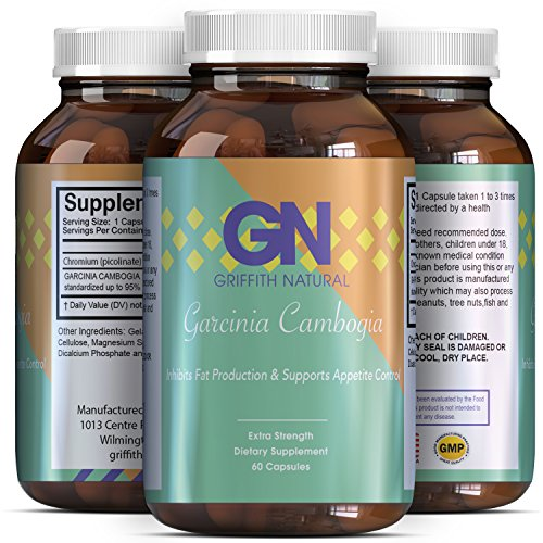 Pure Garcinia Cambogia Extract Supplement 95% -Premium HCA Appetite Suppressant - Ultra Fat Blocker + Burner + Best Results + Reviews - Weight Loss Burn + Trim Pills for Women + Men - Griffith Natural