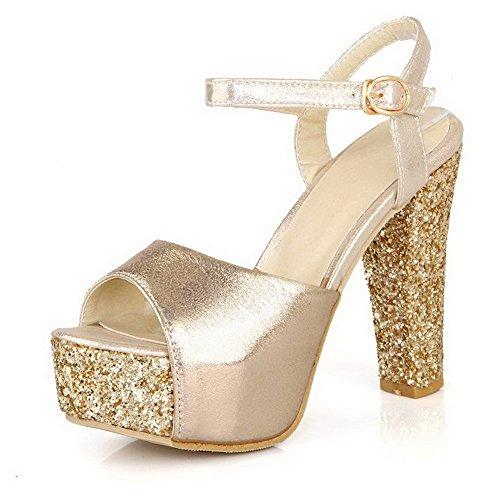 AllhqFashion Mujeres Hebilla Peep Tacón ancho Pu Sólido con Hebilla Metal Sandalia Gold