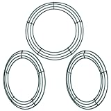 Sumind 3 Pack Wire Wreath Rings Wire Wreath Frame for New Year Valentines Decoration, Dark Green (12 inch)