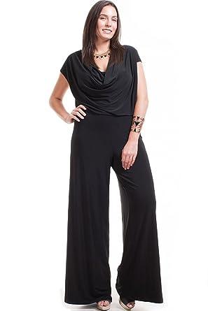 b90c2b0a09f Amazon.com  Nyteez Women s Plus Size Cowl Neck Wide Leg Jumpsuit ...