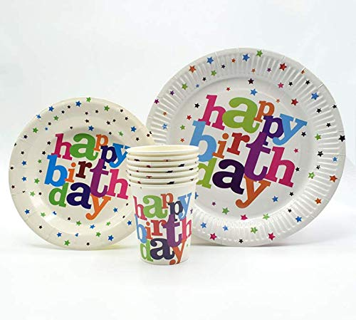 (Happy Birthday Plates & Napkins Set for 20 People-Sturdy Birthday Party Supplies Pack with Large Paper Plates, Small Plates, Cups, Napkins, Straws Best for Girls & Boys (A-Happy)
