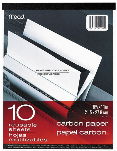 (Mead Products 40112 10 Count 8.5 in. x 11 in. Carbon Paper Tablet)