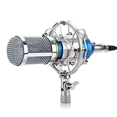 Excelvan BM-800 Condenser Microphone Sound Recording Dynamic + Mic Shock Mount, Ideal for radio broadcasting studio, voice-over sound studio, recording and so on(Black)