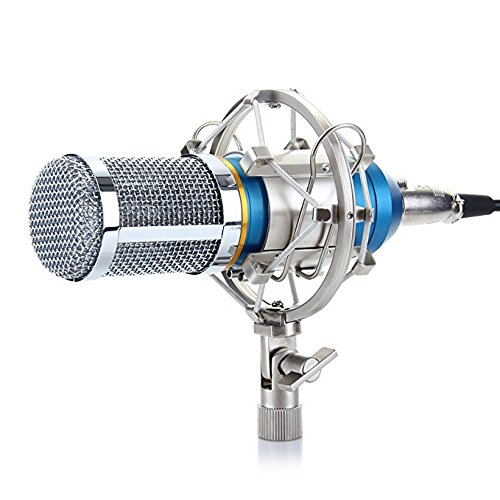 Uni Microphone Dynamic Vocal Directional (Excelvan BM-800 Condenser Microphone Sound Recording Dynamic + Mic Shock Mount, Ideal for Radio Broadcasting, Voice-Over and Recording Studio)