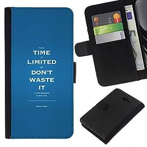 - MESSAGE TIME INSPIRING WASTE LIMITED - - Prima caja de la PU billetera de cuero con ranuras para tarjetas, efectivo desmontable correa para l Funny House FOR Sony Xperia M2