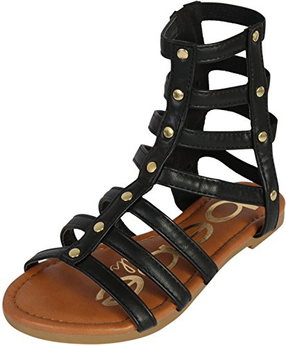 bebe Girls Strappy Gladiator Sandal, Black, 8 M US Toddler'