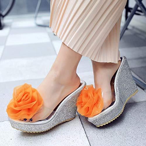 Orange Mujer Sintético Destalonada de JYshoes Material 11 5cm pXIwqXvx