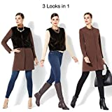 IMAN Platinum Luxe City Coat Couture Faux Fur Vest Espresso Brown XL New 434-666