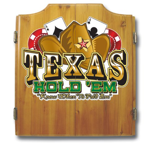 Texas Hold 'Em Wood Dart Cabinet Set by Trademark Gameroom