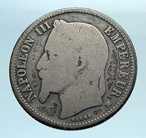 - 1868 FR 1868 FRANCE Emperor NAPOLEON III Geniune Old AR 1 coin Good Uncertified