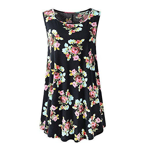 (✈Blackcat✈Women's Sleeveless Swing Tunic Summer Floral Flare Tank Top Comfy Plus Size Tunic Tank Top with Flare)