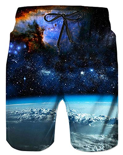 Alistyle Boys Teens Summer 3D Galaxy Graphic Shorts Swimming Shorts Beach Swimming Trunks,Galaxy,Small