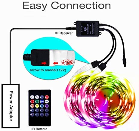 hyrion Music Led Strip Lights Color Changing, Music Sync with 20 Keys Remote Rope Light Strip 65.6ft