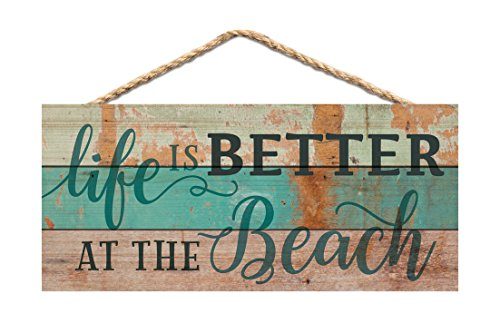 Life is Better at the Beach Aqua Lath Look 10 x 4.5 Wood Wall Hanging Plaque Sign