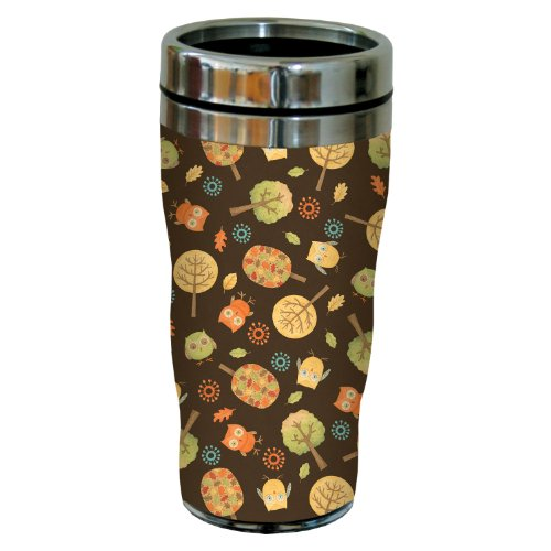 Tree-Free Greetings 77219 Owls and Trees by Debbie Mumm Sip 'N Go Travel Tumbler, 16-Ounce, Stainless Steel ()