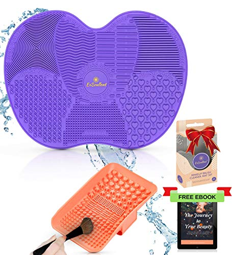ExSoullent Makeup Brush Cleaner Mat - Set of 2 Silicone Portable Brush Cleaning Pads with Scrubber, Suction Cups and Hand Strap, Professional Tool for Cleaner Brushes + eBook