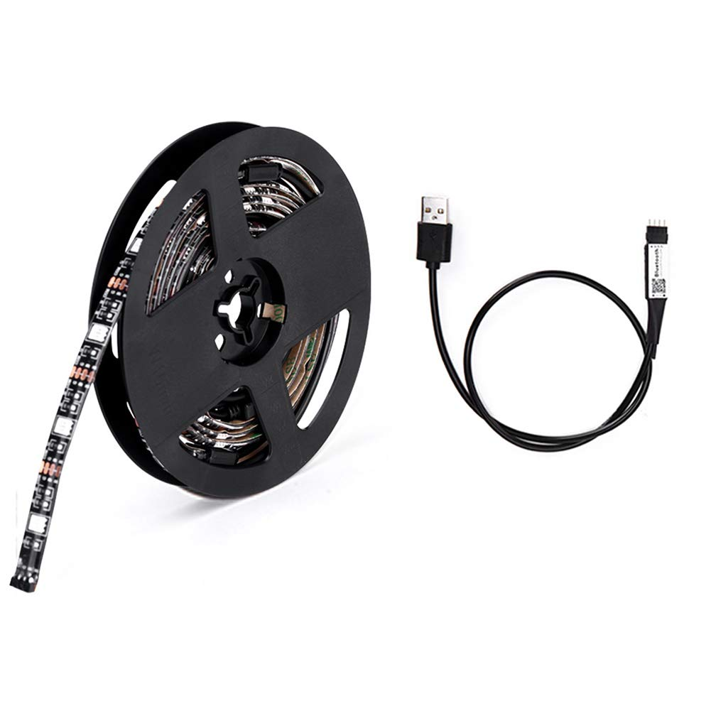 RGB LED Strip Lights with Remote Wireless Smart Phone Controlled USB Powered Light Strip Adjustable Color(Black)