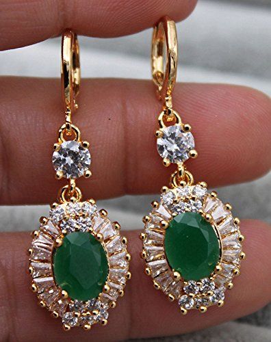 (Phonphisai shop 18K Yellow Gold Filled - 1.6'' Oval Flower Emerald Jade Topaz Lady Gems Earrings)