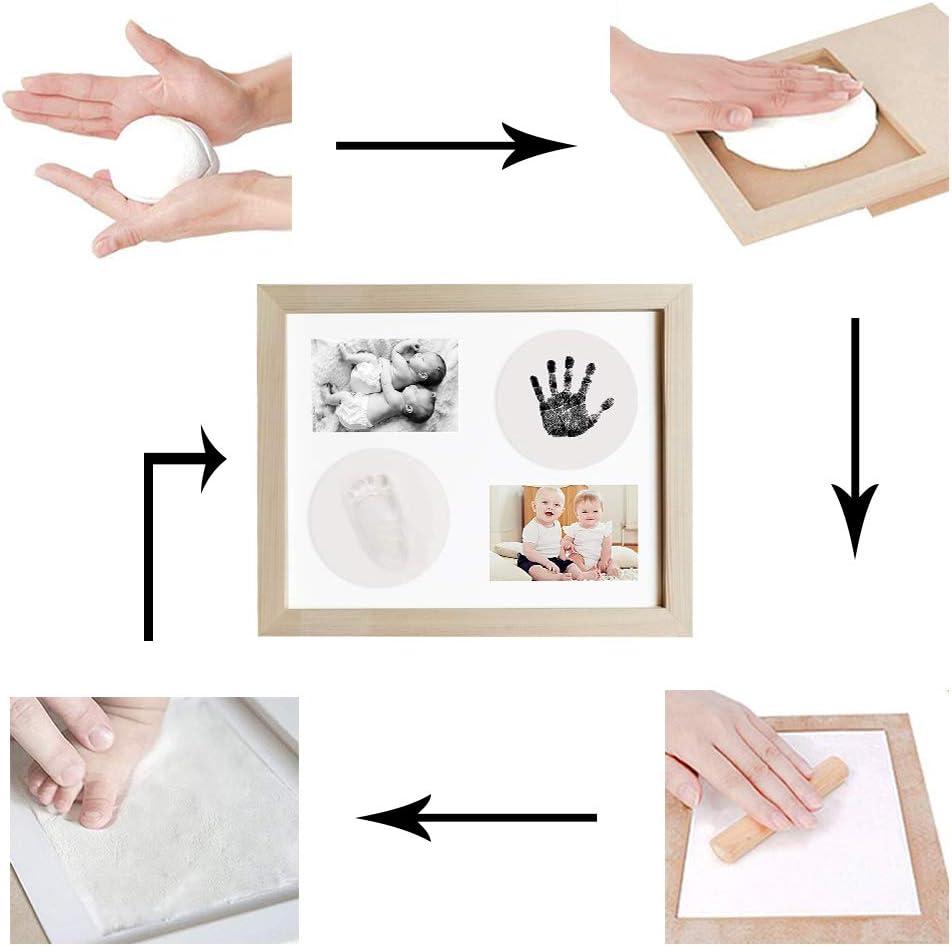 cadre en bois,cadre en bois et verre acrylique Meilo Cadre photo dargile dempreinte de main de b/éb/é,Kits de moulage et dempreintes cadeau de kits de moulage et dimpression pour bapt/ême de b/éb/é