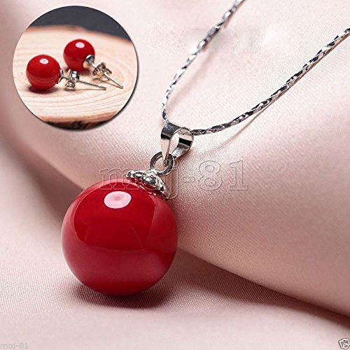10MM &14MM Genuine Round Red South Sea Shell Pearl Pendant Necklace Earring Set