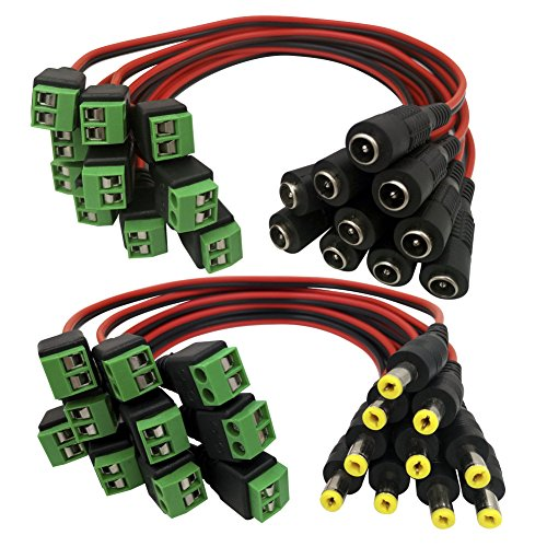 Igreeman 10 Pair Male & Female DC Power Pigtail 18 AWG 5A Cable Upgraded with Terminal Jack Socket 2.1mm 5.5mm Connectors for Home Security Surveillance Camera and Party Lighting ()
