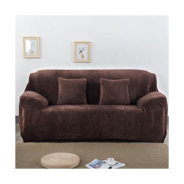 VORCOOL Housse de Canapé 3 Places avec accoudoirs Couverture de Canapé extensible Housse de canapé Anti-acariens en Polyester-(195-230)