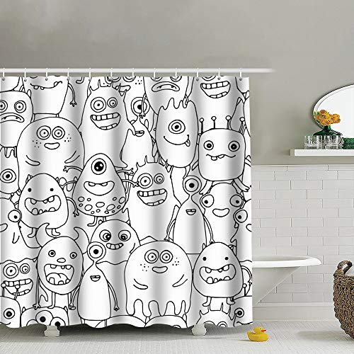 best bags Doodle Monsters Coloring Page Shower Curtain Set, Relaxing Summer Landscape Bathroom Decor,Shower Curtain Set Waterproof 60X72 Inch]()
