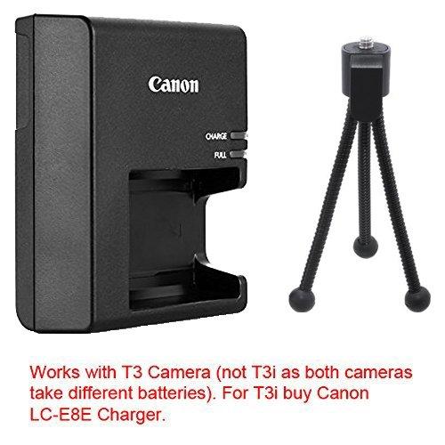 LC-E10 Battery Charger for Canon LP-E10 Battery Pack & for Canon EOS Rebel T3 Digital SLR Camera + Flex Tripod.
