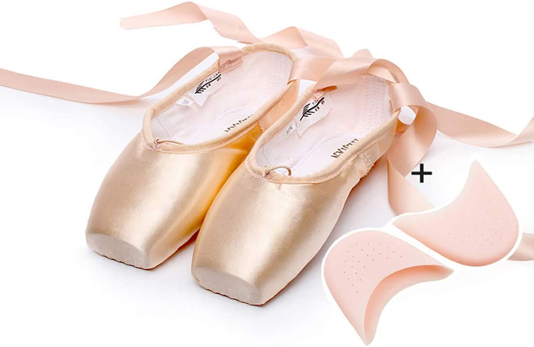 New ballet professional satin pointe ribbon ties shoes Red //Black //Pink