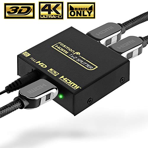 4K HDMI Splitter 1 in 2 Out, Fosmon 1x2 HDMI 1.4v Powered Splitter [4k@30Hz Full UHD 1080p 3D] with AC Power Adapter for Duplicated/Mirror Dual Monitor (1 Source onto 2 -