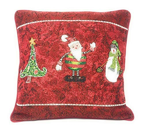Antique Santa Claus - Tache Here Comes Santa Claus Antique Vintage Christmas Eve Traditional Holiday Season Red Decorative Woven Tapestry Throw Pillow Cushion Cover, 16 x 16, 1 Piece