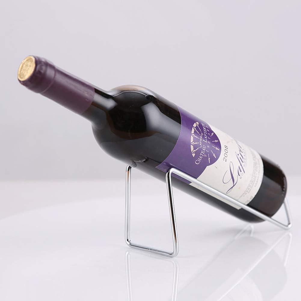 Ibnotuiy Set of 2 Metal Tabletop Single Bottle Wine Rack Minimalist Wine Holder (Gold) Silver