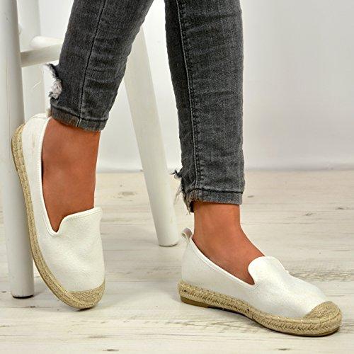 Cucu Womens UK On Fashion Espadrille Slip Flat White New Sizes Pumps Shoes 8 Ballerina Ladies 3 qrrEw