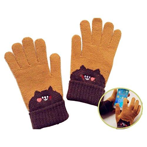 CRESTRADE 手袋 ニット グローブ スマートフォン対応 タッチパネル 裏起毛 かわいいクマさん [並行輸入品]