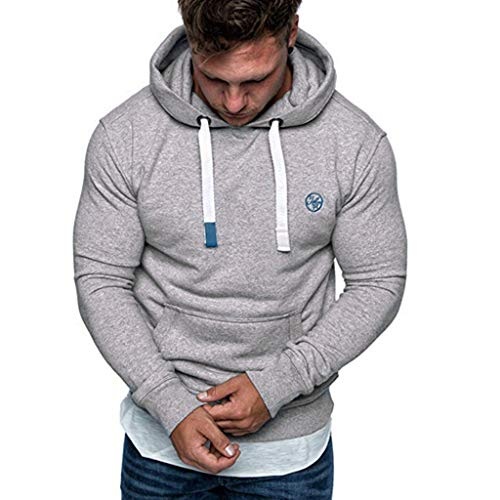 Dressin Mens Solid Casual Hoodie Autumn Winter Long Sleeve Drawsting Top Tracksuit with Pocket